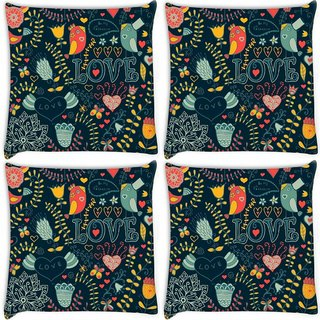 Snoogg Pack Of 4 Love Green Pattern Digitally Printed Cushion Cover Pillow 10 x 10 Inch