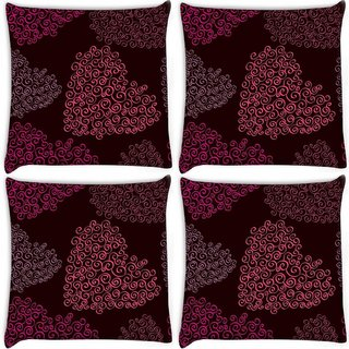 Snoogg Pack Of 4 Pink Heart Digitally Printed Cushion Cover Pillow 10 x 10 Inch