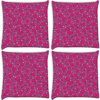 Snoogg Pack Of 4 Angel Of Hearts Digitally Printed Cushion Cover Pillow 10 x 10 Inch