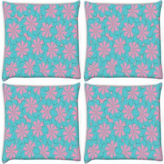 Snoogg Pack Of 4 Girly Pattern Digitally Printed Cushion Cover Pillow 10 x 10 Inch