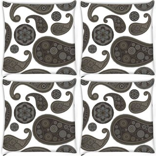 Snoogg Pack Of 4 Grey Girly Pattern Digitally Printed Cushion Cover Pillow 10 x 10 Inch