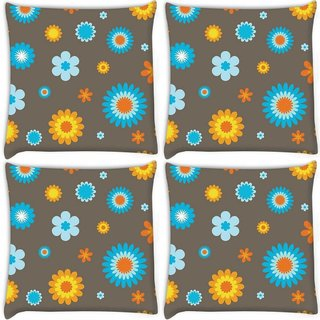 Snoogg Pack Of 4 Cream Pattern Floral Digitally Printed Cushion Cover Pillow 10 x 10 Inch