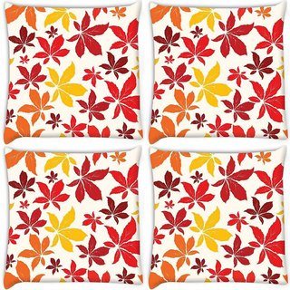 Snoogg Pack Of 4 Colorful Leaves Digitally Printed Cushion Cover Pillow 10 x 10 Inch