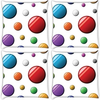 Snoogg Pack Of 4 Colorful Balls Digitally Printed Cushion Cover Pillow 10 x 10 Inch