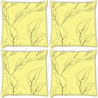 Snoogg Pack Of 4 Cream Yellow Leaves Digitally Printed Cushion Cover Pillow 10 x 10 Inch