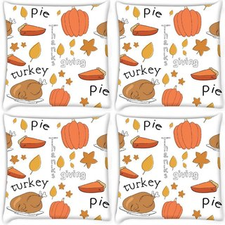 Snoogg Pack Of 4 Thanks Giving Digitally Printed Cushion Cover Pillow 10 x 10 Inch