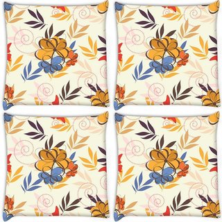 Snoogg Pack Of 4 Colorful Flowers Digitally Printed Cushion Cover Pillow 10 x 10 Inch