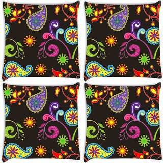 Snoogg Pack Of 4 Abstract Dark Pattern Digitally Printed Cushion Cover Pillow 10 x 10 Inch