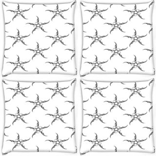 Snoogg Pack Of 4 Grey Starfish Pattern Digitally Printed Cushion Cover Pillow 10 x 10 Inch