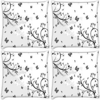 Snoogg Pack Of 4 Grey Butterflies Digitally Printed Cushion Cover Pillow 10 x 10 Inch