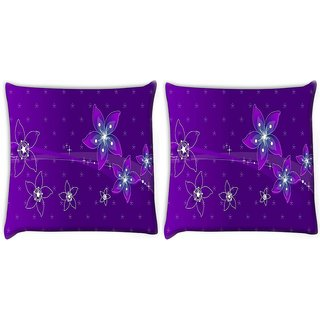 Snoogg Pack Of 2 Purple Flower Digitally Printed Cushion Cover Pillow 10 x 10 Inch