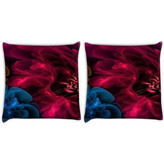 Snoogg Pack Of 2 Blue And Red Smoke Digitally Printed Cushion Cover Pillow 10 x 10 Inch