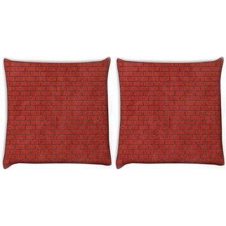 Snoogg Pack Of 2 Red Bricks Digitally Printed Cushion Cover Pillow 10 x 10 Inch