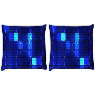 Snoogg Pack Of 2 Blue Blocks Digitally Printed Cushion Cover Pillow 10 x 10 Inch