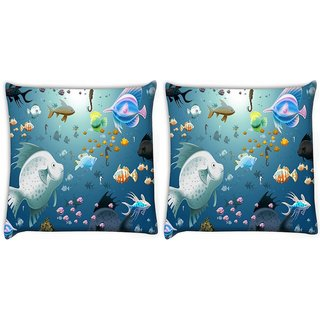 Snoogg Pack Of 2 Multiple Fish Digitally Printed Cushion Cover Pillow 10 x 10 Inch