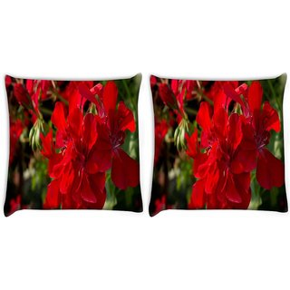 Snoogg Pack Of 2 Red Floral Digitally Printed Cushion Cover Pillow 10 x 10 Inch
