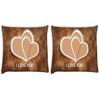 Snoogg Pack Of 2 Cream Heart Digitally Printed Cushion Cover Pillow 10 x 10 Inch