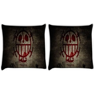 Snoogg Pack Of 2 Scary Art Digitally Printed Cushion Cover Pillow 10 x 10 Inch