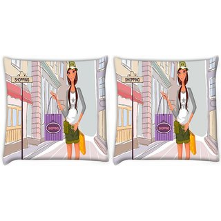 Snoogg Pack Of 2 Girl Shopping Digitally Printed Cushion Cover Pillow 10 x 10 Inch