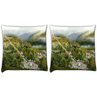 Snoogg Pack Of 2 Long Route Steps Digitally Printed Cushion Cover Pillow 10 x 10 Inch