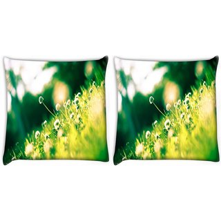 Snoogg Pack Of 2 Small Floral In Green Grass Digitally Printed Cushion Cover Pillow 10 x 10 Inch