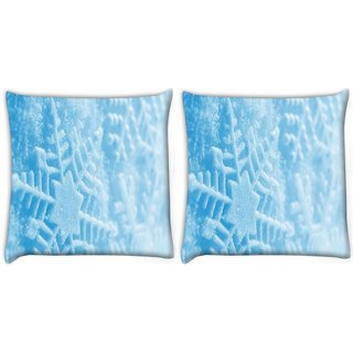 Snoogg Pack Of 2 Blue Xmas Digitally Printed Cushion Cover Pillow 10 x 10 Inch