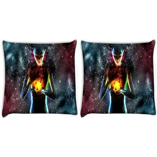 Snoogg Pack Of 2 Fire Women Digitally Printed Cushion Cover Pillow 10 x 10 Inch
