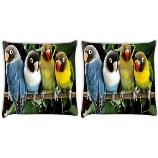 Snoogg Pack Of 2 Cute Birds Digitally Printed Cushion Cover Pillow 10 x 10 Inch