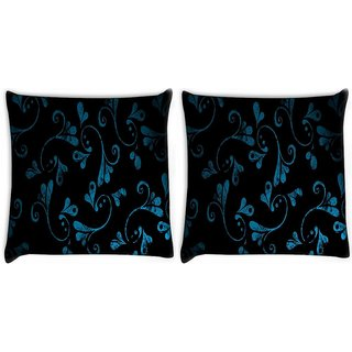 Snoogg Pack Of 2 Blue Abstract Design Digitally Printed Cushion Cover Pillow 10 x 10 Inch