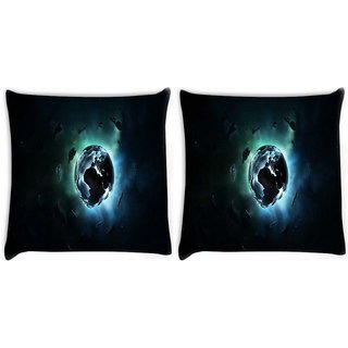 Snoogg Pack Of 2 Mechanism Of Earth Digitally Printed Cushion Cover Pillow 10 x 10 Inch