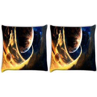 Snoogg Pack Of 2 Cool Earth Digitally Printed Cushion Cover Pillow 10 x 10 Inch