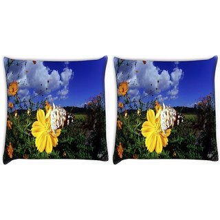 Snoogg Pack Of 2 Cool Butterfly Digitally Printed Cushion Cover Pillow 10 x 10 Inch
