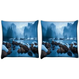 Snoogg Pack Of 2 Cool Wallpaper Widescreen Digitally Printed Cushion Cover Pillow 10 x 10 Inch