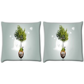Snoogg Pack Of 2 Two Small World Digitally Printed Cushion Cover Pillow 10 x 10 Inch