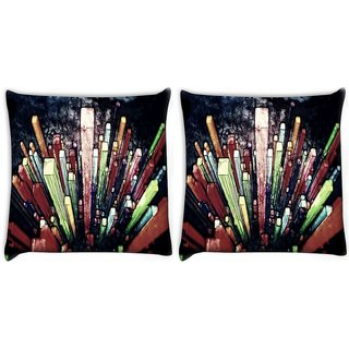Snoogg Pack Of 2 Crystals Digital Art Digitally Printed Cushion Cover Pillow 10 x 10 Inch