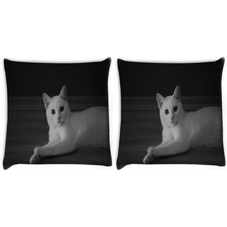 Snoogg Pack Of 2 Curious White Cat Digitally Printed Cushion Cover Pillow 10 x 10 Inch