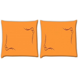 Snoogg Pack Of 2 Curves On Woven Texture Digitally Printed Cushion Cover Pillow 10 x 10 Inch