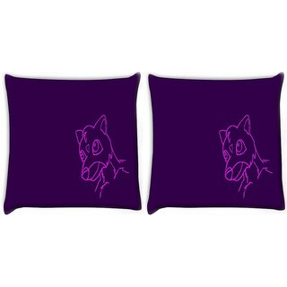 Snoogg Pack Of 2 Cute Creature Purple Digitally Printed Cushion Cover Pillow 10 x 10 Inch