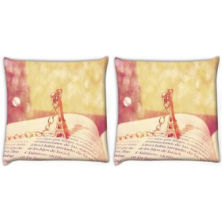 Snoogg Pack Of 2 Cute Eiffel Tower Digitally Printed Cushion Cover Pillow 10 x 10 Inch