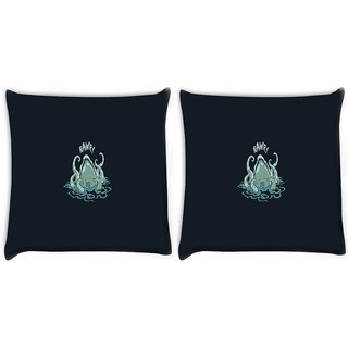 Snoogg Pack Of 2 Cute Octopus Funny Digitally Printed Cushion Cover Pillow 10 x 10 Inch