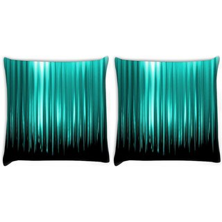 Snoogg Pack Of 2 Cyan Rays Digitally Printed Cushion Cover Pillow 10 x 10 Inch