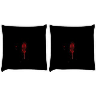 Snoogg Pack Of 2 Finger Print Digitally Printed Cushion Cover Pillow 10 x 10 Inch