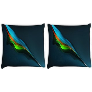 Snoogg Pack Of 2 Feather Abstract Digitally Printed Cushion Cover Pillow 10 x 10 Inch