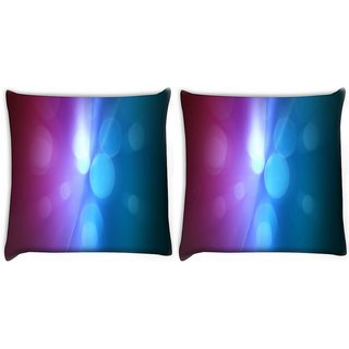Snoogg Pack Of 2 Light Circles Digitally Printed Cushion Cover Pillow 10 x 10 Inch