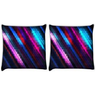 Snoogg Pack Of 2 Squares And Lines Digitally Printed Cushion Cover Pillow 10 x 10 Inch