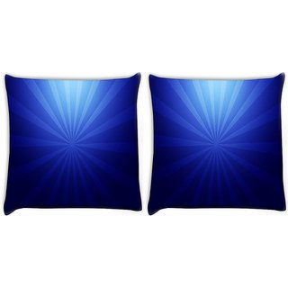 Snoogg Pack Of 2 Abstract Dark Blue Pattern Digitally Printed Cushion Cover Pillow 10 x 10 Inch