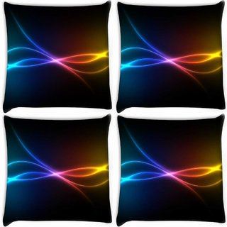 Snoogg Pack Of 4 Multicolor Rays Digitally Printed Cushion Cover Pillow 10 x 10 Inch