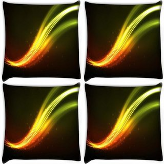 Snoogg Pack Of 4 Green Waves Design Digitally Printed Cushion Cover Pillow 10 x 10 Inch