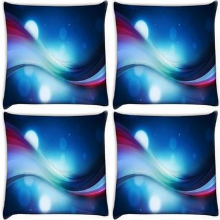 Snoogg Pack Of 4 Bubbles And Strips Digitally Printed Cushion Cover Pillow 10 x 10 Inch