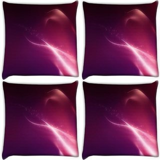 Snoogg Pack Of 4 Pink Pattern Design Digitally Printed Cushion Cover Pillow 10 x 10 Inch